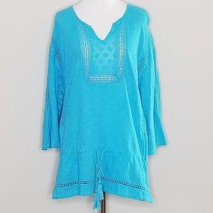 Crown & Ivy | Blue Tie Waist Tunic | XL